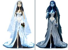 Tim Burton's The Corpse Bride- Emily alive and dead. I love both versions of her dress.