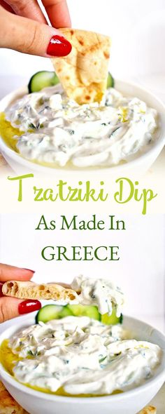 Tzatziki is a refreshing Greek yogurt dip, made with cucumber, olive oil, vinegar, and garlic. It is added inside wraps like Gyros or served as a grilled meat or bread dip. This Tzatziki recipe will s Make Greek Yogurt, Greek Yogurt Dips, Greek Yogurt Recipes, Dip Recipes, Sauce Recipes, Meat Recipes, Healthy Dinner Recipes, Greek Tzatziki Recipe, Dressings