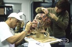 """Adding the final coarse """"insect hairs"""" to the lead character from the Stan Winston-produced EARTH VS THE SPIDER."""
