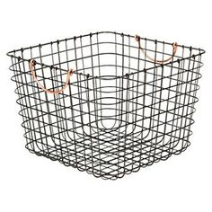 Large Milk Crate Wire Storage Bin   Antique Pewter With Copper Handle    Threshold™
