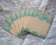 LACE Stamped Gift Tags - Aqua, Teal, Blue ...Vintage Inspired, Shabby via Etsy