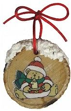 Wood Disk Ornament. Cut out a piece of a Christmas card to fit on a wood disk. Brush one side of wood disc with Mod Podge. Lay cut out on disc & brush with a final coat of solution. Dry thoroughly. Use end of brush to dab snow paint along top. Let dry. Cut a piece of satin cord for hanger. String through hole in disk. Tie into a bow.