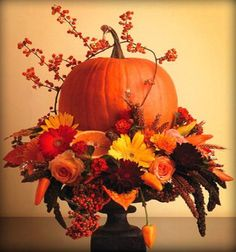 fall arrangement on black spray painted upside down glass sundae dish works for Fall as well as Eerie for Halloween d?cor just add Raven bird Fall Floral Arrangements, Halloween Flower Arrangements, Floral Centerpieces, Autumn Decorating, Decorating Ideas, Decor Ideas, Fall Flowers, Wedding Flowers, Thanksgiving Decorations