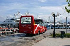 The #Nafplio city tour bus on route during the 2014 Mediterranean Yacht Show. #Peloponnese - #Greece