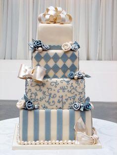joyful & whimsical French blue wedding cake