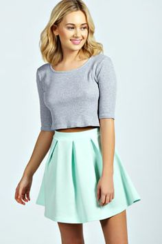 Aleena Box Pleat Scuba Skater Skirt #ghdpastelcollection #ghd #goodhairday