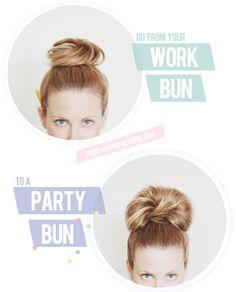work bun to party bun