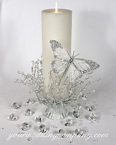 Silver butterfly centerpiece or unity candle idea.