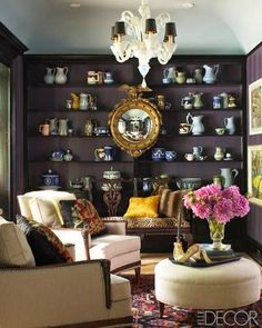 elle decor aubergine (purple or eggplant) built in bookcases