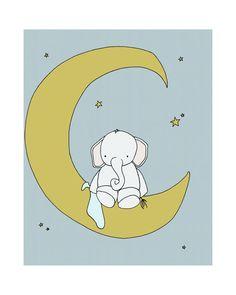 Elephant Nursery Art Print Nursery Decor by sweetmelodydesigns, $15.00