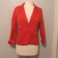 JCrew Orange Blazer Cute casual cotton blazer. Well loved but in good condition! NO PAYPAL OR TRADES. Please use offer button to negotiate- Reasonable offers will be considered, lowball offers will be ignored. Bundled are discounted! J. Crew Jackets & Coats Blazers