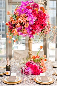 Wedding Centerpieces Gold And Pink Sophisticated Bride Ideas Wedding Reception Centerpieces, Floral Centerpieces, Reception Decorations, Floral Arrangements, Flower Arrangement, Tall Centerpiece, Centerpiece Ideas, Flower Decorations, Colorful Flowers