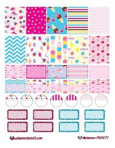 @Mint Weddings 1.PICKETT: Free Ice Cream Printable Planner Stickers