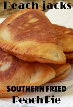 """Fried pies are a southern tradition. Usually fried in lard these """"jacks"""" are individual pies. Kinda like hand pies. Fried Hand Pies, Fried Apple Pies, Fried Fruit Pies Recipe, Pecan Pies, Fried Pie Dough Recipe Easy, Recipe For Fried Peach Pies, Peach Pie Recipes, Homemade Peach Cobbler, Southern Peach Cobbler"""
