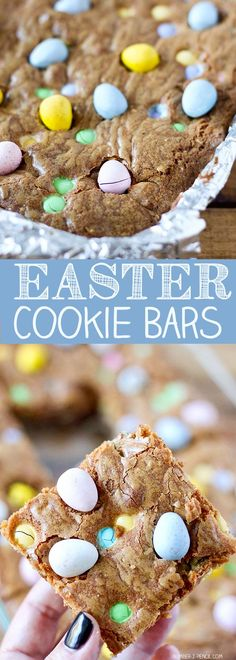 Cadbury Mini Eggs and M&M'S Easter Cookie Bars (Easter Baking Recipes) Mini Eggs Cookies, Easter Cookies, Easter Treats, Cookies Et Biscuits, Easter Food, Easter Eggs, Summer Cookies, Baby Cookies, Heart Cookies