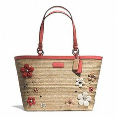 Coach STRAW / CORAL Tote Bag $167