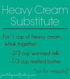 Heavy Cream Substitute - Good to know! My family is always needing heavy cream. NOT FOR WHIPPING. As it said, not for whipping but wonderful sub in baking & cooking (certain recipes) Heavy Cream Substitute, Substitute Recipe, Microwave Caramels, Do It Yourself Food, Mantecaditos, Cooking Measurements, Food Substitutions, Recipe Substitutes, Good Food
