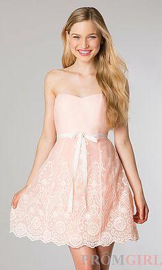 Short Strapless Sweetheart Dress at PromGirl.com
