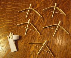 Fun idea for cub scouts. Bows and arrows that really shoot far from popsicle sticks, dental floss, and q tips! Projects For Kids, Craft Projects, Craft Ideas, Garden Projects, Fun Crafts, Crafts For Kids, Crafts Cheap, Dental Floss, Craft Activities