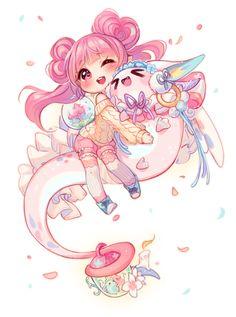 Manga Kawaii, Cute Anime Chibi, Kawaii Chibi, Kawaii Art, Kawaii Anime Girl, Anime Art Girl, Anime Girls, Cute Animal Drawings Kawaii, Cute Drawings