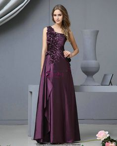 One Shoulder Beaded Flowers Taffeta Purple Prom Dress