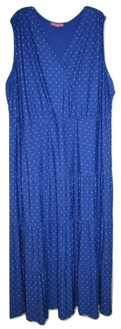 d342701703df8 Details about Woman Within sleeveless Dress 4X 34 36 Poly Rayon Knit Maxi  Long Purple Blue Dot
