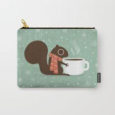 Squirrel Coffee Lover Carry-All Pouch Squirrel Art, Secret Squirrel, Opossum, Racoon, Woodland Creatures, Chipmunks, Gift For Lover, Pet Birds, Baby Animals