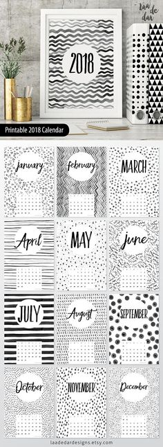 2018 Printable Calendar - Size: A4 (210 x 297mm)  This listing is for a digital file INSTANT DOWNLOAD of this artwork - No physical item will be sent  **This design is 100% unique and all patterns were hand painted by us!**    HOW TO USE IT ..................................................  - PRINT on paper or cardstock...  - FRAME it!  - or SPIRAL BIND it!       FILES YOU WILL RECEIVE ..................................................  - 1x PDF File - x13 JPEG Files      WHAT TO DO NEXT…