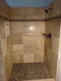 River rock shower floor