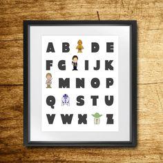 Star Wars Alphabet Nursery Print // Star Wars // C3PO // R2D2 // Han Solo // Luke Skywalker // 8x10 DIGITAL FILE