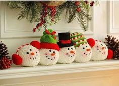 Complete your Christmas mantle with our Frosty's Friends Snowball Stack!Frosty's Friends Snowball Stack - Make from old chenille bedspread.Frosty's Friends Snowball Stack - no link, no instructions but a nice idea all the same! Christmas Craft Projects, Christmas Sewing, Christmas Snowman, Winter Christmas, All Things Christmas, Handmade Christmas, Holiday Crafts, Christmas Holidays, Christmas Ornaments