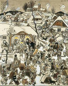 Art by Josef Lada Christmas Illustration, Children's Book Illustration, Russian Painting, Cartoon Sketches, Art World, Illustrators, Folk Art, Statues, Art Photography