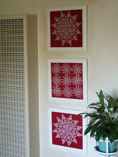 I like this idea for displaying crochet doilies & motifs. The white/colour contrast is striking.