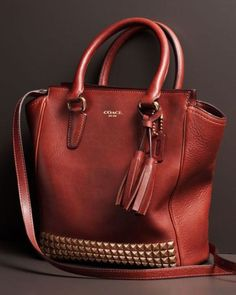 Coach burgundy; cognac; leather tote; handbag; man bag; nurse; purse; with studs