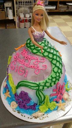 Barbie Doll Mermaid Shaped Cake