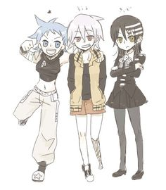 Soul Eater gender switch  Black* Star, Soul, Death the Kid