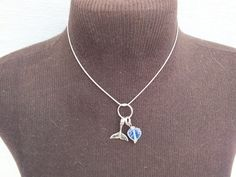 """Charms Necklace, Whale Tail, Blue Stone, Sterling Silver Snake Chain Necklace 16"""" Choker, Vintage Jewelry  Gift Idea, Free Shipping in USA by GiftShopVintage on Etsy"""