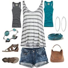 Grey and turquoise, created by amanda-law-beaulieu on Polyvore