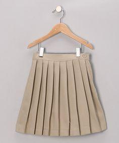 Look at this #zulilyfind! Khaki Pleated Skirt - Girls by Genuine School Uniform #zulilyfinds $9.99, regular 24.00
