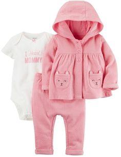 "Baby Girl Carter's Little Bear Jacket, ""I Heart Mommy"" Bodysuit & Bottoms Set Outfits Niños, Cute Baby Girl Outfits, Little Girl Dresses, Toddler Outfits, Kids Outfits, Carters Baby Clothes, Carters Baby Girl, Cute Baby Clothes, Baby Girls"