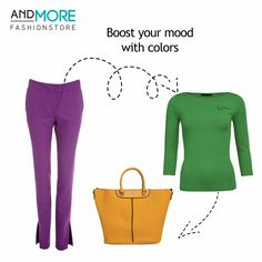 2015 STYLE TIP! Boost your mood with colors! Green monton sweater combined with Ivo Nikkolo hot purple slim-fit trousers and Monton yellow handbag to add personality! Defently a look for a successful independent woman.