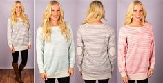 "This gorgeous everyday tunic is such a fun addition to your wardrobe!  The french terry material is oh so soft and it is very flattering on anyone and everyone!  We love the fun elbow patch detail and the longer length that makes it super fun to pair with your favorite printed or solid leggings!60% Polyester 40% CottonSIZING:   Model is 5'9"" wears a 6 and is wearing a Medium Small 0-4Medium 6-8Large 10-12COLORS: GreyMintCoral"