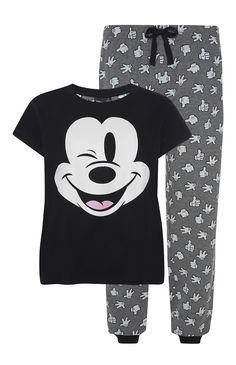 Primark - Black and Grey Mickey Mouse PJ Set