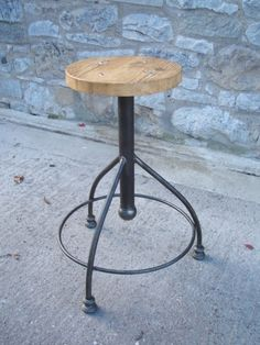Vintage industrial furniture, restored metal and wooden tables, shelves and seating - Stools and Seating