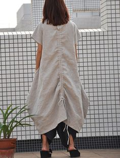 """◆Description: This full length linen maxi dress comes with round neck,short sleeves,irregular hem,two side pockets.loose fitting style,casual for summer,be enjoyed  ◆color:beige  ◆SIZE CHART  One size: Bust 114 cm / 44.88"""",waist 124 cm / 48.81, length 120 cm / 47.24"""",sleeves length 16 cm / 6.29"""" It fits for size from US 0 ~ US 18  ◆Model information: Height 158cm ,weigth 44kg,bust 81cm,waist 60cm,hip 84cm,she wears this dress in size S.  ☆ ☆ ☆ ☆ ☆ ☆ ☆ ☆ ☆ ☆ ☆ ☆ ☆☆ ☆ ☆ ☆ ☆ ☆ ☆ ☆ ☆ ☆ ☆ ☆ ☆ ☆ ☆…"""