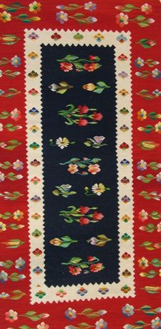 Stylized flowers typical of an Oltenia rug. The weaver learned the art of rug making at a monastery in Romania. Romania People, The Beautiful Country, Traditional Rugs, Carpet Flooring, Vintage Textiles, Rug Making, Handmade Rugs, Hand Weaving, Kids Rugs