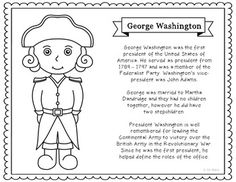 George Washington Coloring Page Or Poster With Short Biography. Makes A  Great Addition To History