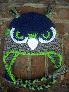 Hawk/falcon hat pattern. Great for several team mascots, just change up the colors!