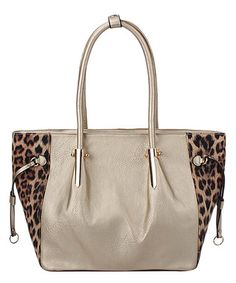 Taupe & Gold Leopard-Accent Tote #zulily #zulilyfinds