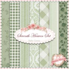 """Seventh Heaven 7 FQ Set - Baby Green: This Seventh Heaven Set is an exclusive Shabby Fabrics creation!  We have taken the guesswork out of finding coordinating fabrics.  This set contains 7 coordinating fat quarters, each measuring approximately 18"""" x 21""""."""